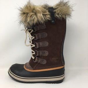 "Sorel Joan of Arctic Boots Brown Lace 12"" Fur 7.5"